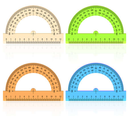 protractor ruler on a white background. Vector