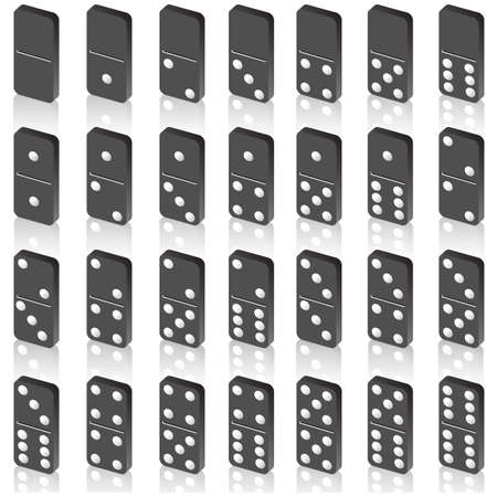 dominoes: A set of dice for a game of dominoes. Vector.