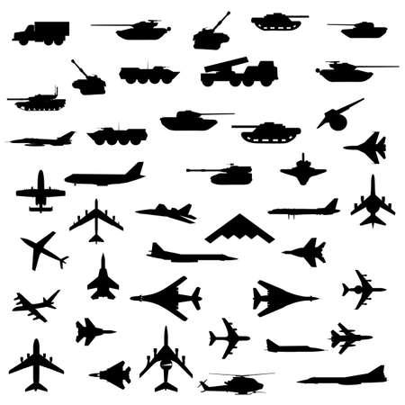 Vector conjunto de aviones, blindados y armas pesadas.