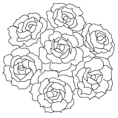 flower arrangement: Large bouquet of roses. vector