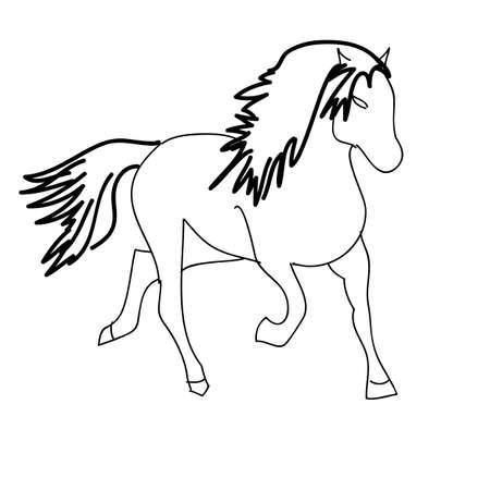Black horse silhouette isolated on white for design. Vector