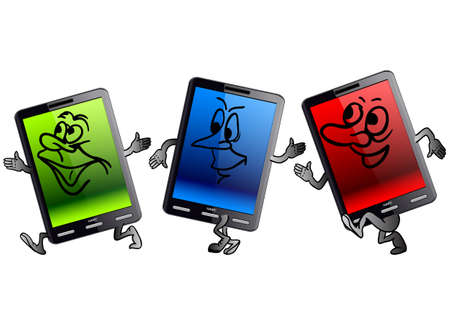 Vertical Tablet computer in the form of little people Stock Vector - 11931034