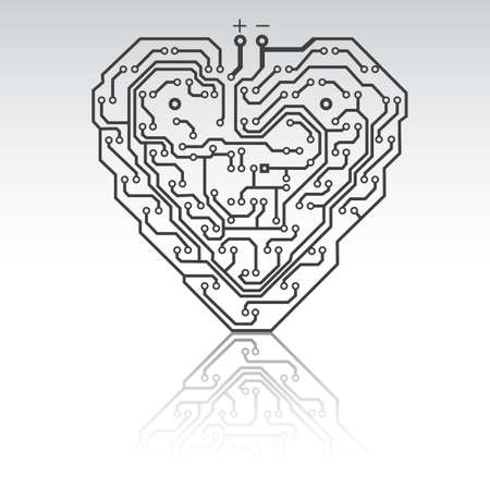 Circuit board pattern in the shape of the heart. Illustration.