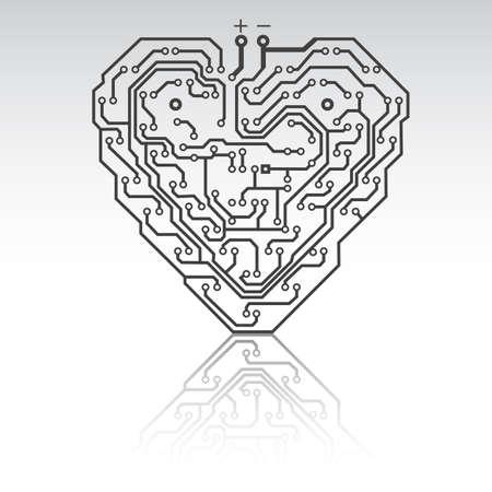 circuitboard: Circuito modello bordo a forma di cuore. Illustrazione.