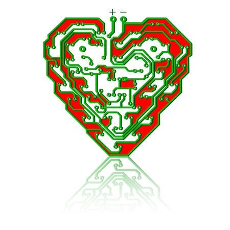 Circuit board pattern in the shape of the heart. Illustration.  Vector