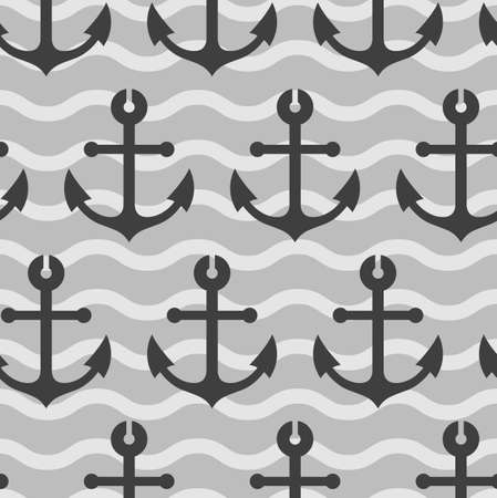 seamless wallpaper with sea anchors Vector
