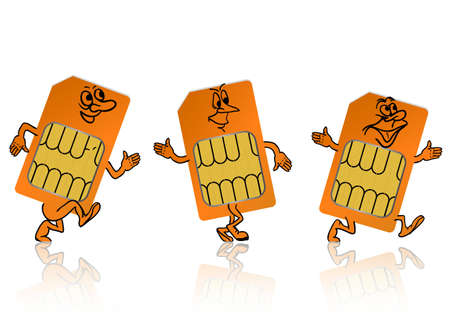 sim: sim card in the form of little people