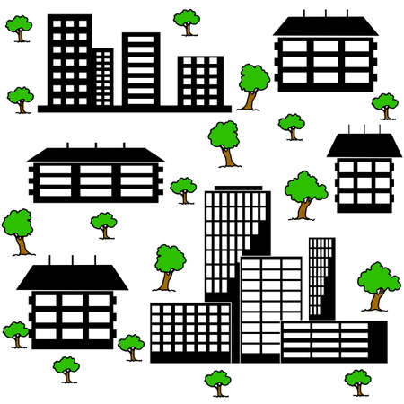 different kind of houses and buildings Illustration Vector