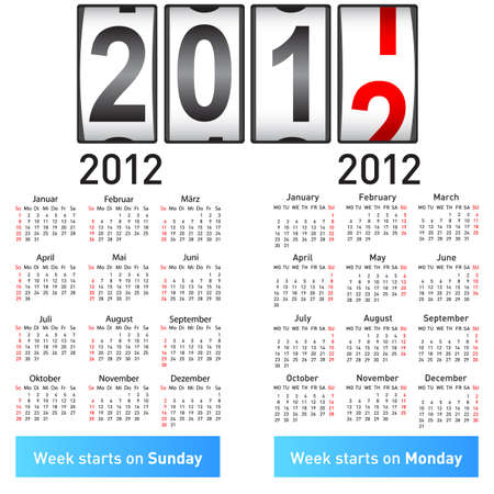 Stylish German calendar  for 2012. In German and English. Vector