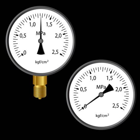 manometer: The gas manometer isolated on black background