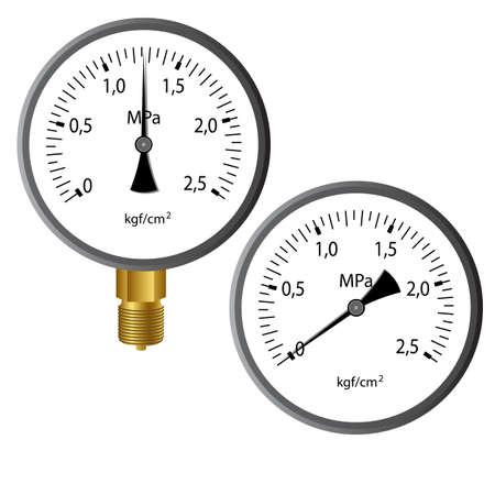 El manómetro de gas aisladas sobre fondo blanco