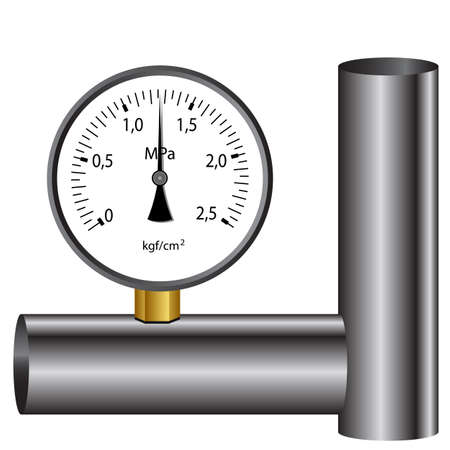 pressure gauge: The gas manometer isolated on white background Illustration