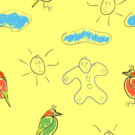 seamless wallpaper childrens drawings of the sun and clouds Vector
