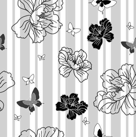 sateen: seamless wallpaper flowers and butterflies Illustration