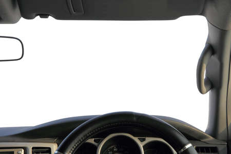 The view from the car, a white background for your text  photo