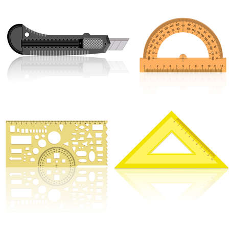 protractor: Stationery knife, ruler and protractor line of the triangle on a white background. Illustration