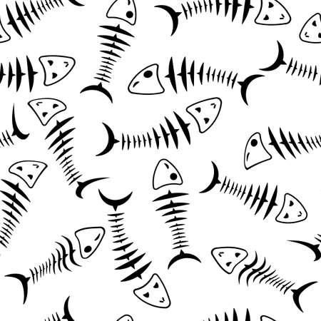 inedible: Seamless wallpaper skeleton fish vector background Illustration