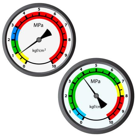 manometer: The gas manometer isolated on white background Illustration