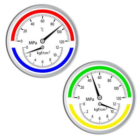 Il manometro gas isolato su sfondo bianco Vettoriali