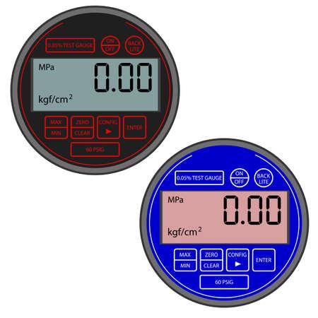 manometer: The modern digital gas manometer isolated on white background Illustration