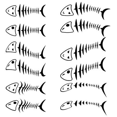 inedible: A set of fish skeletons. Vector illustration. Illustration