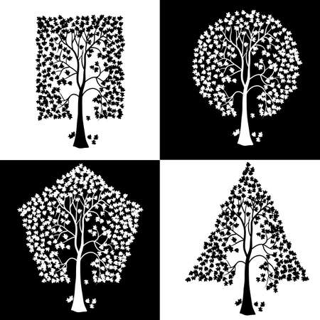 Trees of different geometric shapes. Vector set. Vector