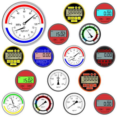 vector set di switch e manometri digitali