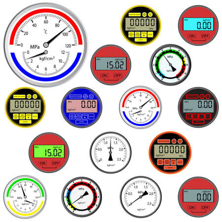 pressure gauge: vector set of switches  and digital manometers Illustration