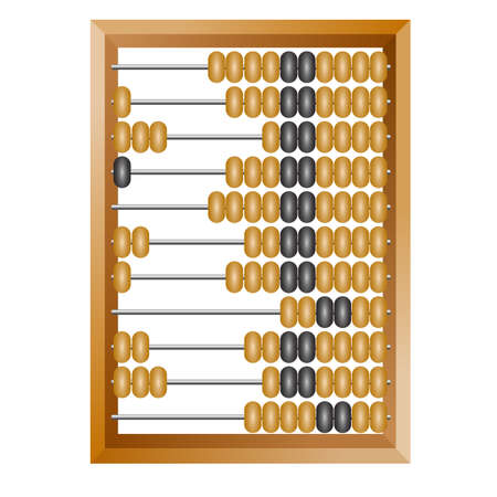 Accounting abacus for financial calculations lies on a white background