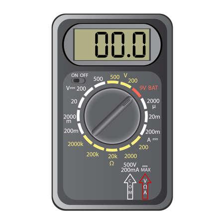 ampere: Digital multimeter. Vector illustration. Isolated on white background.