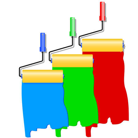 colours tints: Three roller for painting. Vector illustration.