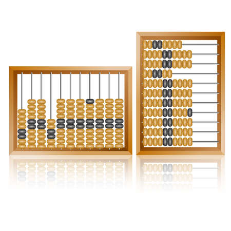 sums: Accounting abacus for financial calculations lies on a white background