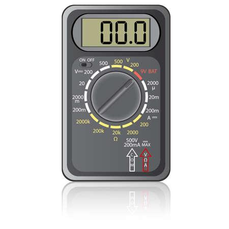 amperage: Digital multimeter. Vector illustration. Isolated on white background.