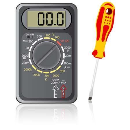 contador electrico: Mult�metro de color negro y un destornillador sobre un fondo blanco