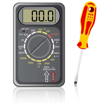Multimeter of black color and screwdriver on a white background