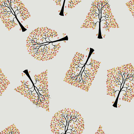 Seamless wallpaper the trees vector background Vector