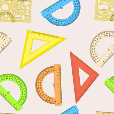 millimeters: Seamless wallpaper the ruler and protractor line of the triangle vector background