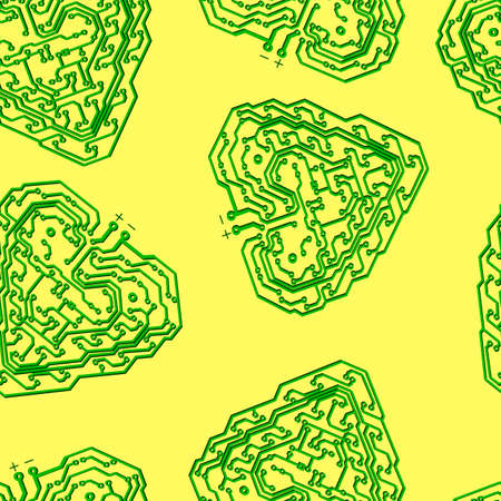 Seamless wallpaper Circuit board pattern in the shape of the heart vector background Vector