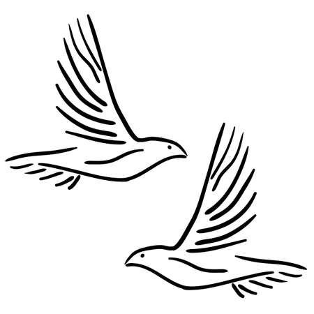 two animals: Concept of love or peace. Set of white vector doves.