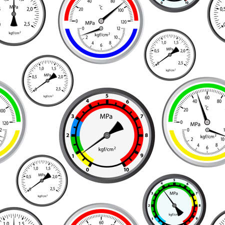 objects equipment: Seamless wallpaper the gas manometer vector background