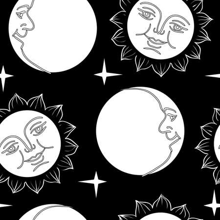Seamless wallpaper the Moon and Sun with faces  vector background Vector