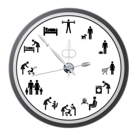 Clock of icons of people, the concept of the working day  Vector illustration  Ilustracja