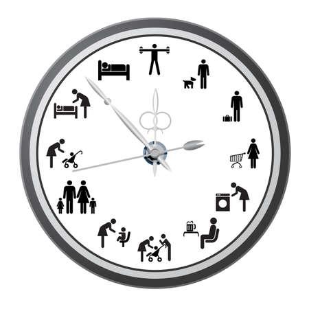 woman clock: Reloj de los iconos de la gente, el concepto de la ilustraci�n vectorial d�as de trabajo Vectores