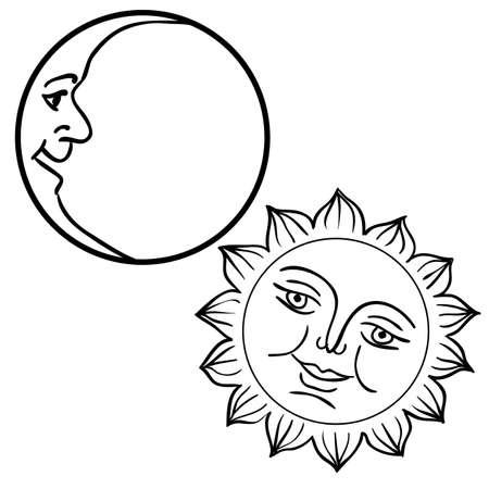 zon maan: Vector illustratie van Maan en Zon met gezichten