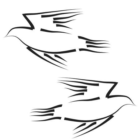 Concept of love or peace  Set of white vector doves  Vector