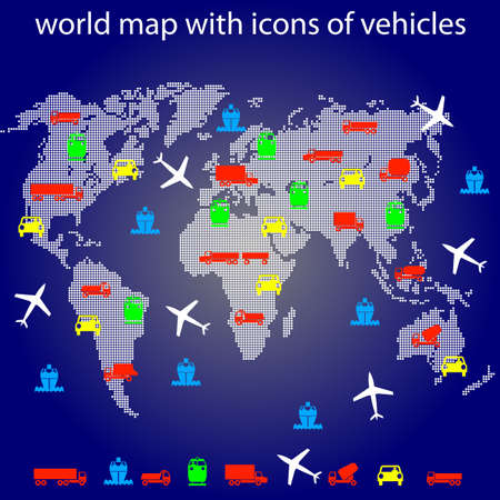 world map with icons of transport for traveling. Vector. Stock Vector - 12551770