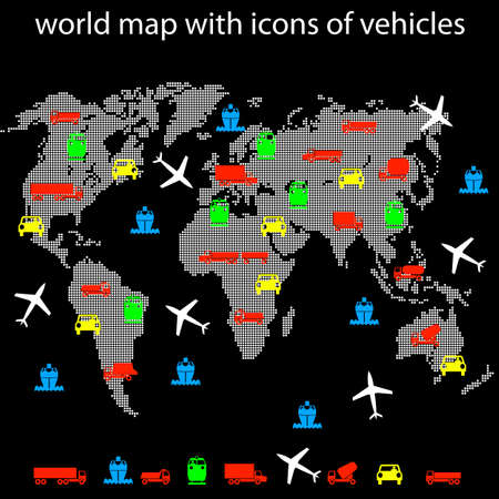 world map with icons of transport for traveling. Vector. Vector