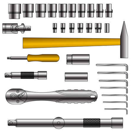 vector set of different tools over white background Stock Vector - 12551424