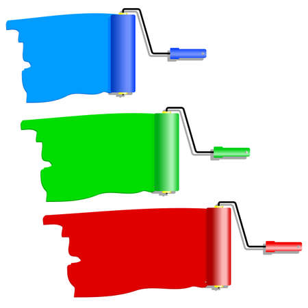 vivid colors: Three roller for painting. Vector illustration.