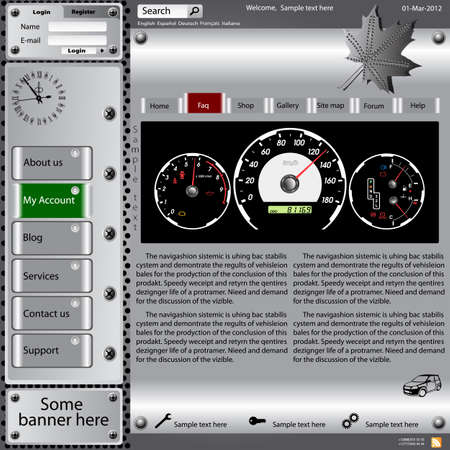 Vector template web site about automotive topics. Vector
